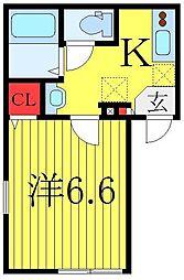 ライフタウン東長崎 1階1Kの間取り