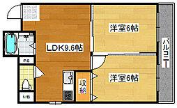 Osaka Metro四つ橋線 岸里駅 徒歩12分の賃貸マンション 5階2LDKの間取り
