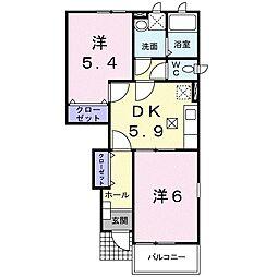 アオシス1番館[1階]の間取り