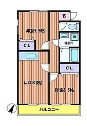 東京都日野市新町4丁目の賃貸アパートの間取り
