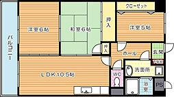 福岡県北九州市八幡西区上上津役2丁目の賃貸マンションの間取り