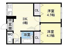 アリタマンション京橋3階Fの間取り画像