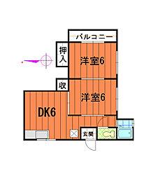 三福荘[201号室]の間取り