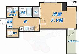 みおつくし高井田 2階1Kの間取り