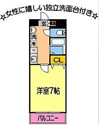 メゾンド・ユートピア4番館 3階1Kの間取り