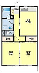 愛知県豊田市鴛鴨町西屋敷の賃貸アパートの間取り