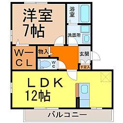 愛知県名古屋市千種区向陽町2丁目の賃貸アパートの間取り