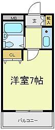 カプコン北田辺[2階]の間取り
