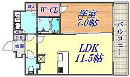 プレサンスTHE神戸 9階1LDKの間取り