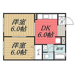 千葉県大網白里市みどりが丘1丁目の賃貸アパートの間取り