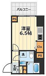 JR中央線 豊田駅 徒歩2分の賃貸マンション 6階1Kの間取り