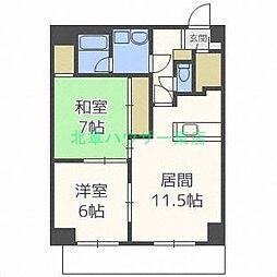 北海道札幌市東区伏古一条5丁目の賃貸マンションの間取り