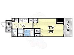 コンフォリア江坂 15階1Kの間取り