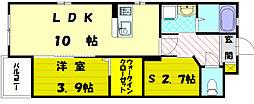 JR鹿児島本線 福間駅 徒歩10分の賃貸マンション 1階1SLDKの間取り