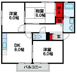 ウィンディア岡垣A[1階]の間取り