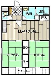 畑田ハイツ[203号室]の間取り