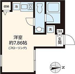 都営大江戸線 練馬駅 徒歩6分の賃貸マンション 2階ワンルームの間取り