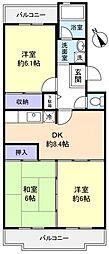千葉県八千代市八千代台南3丁目の賃貸マンションの間取り