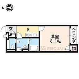 JR東海道・山陽本線 山科駅 徒歩14分の賃貸アパート 2階1Kの間取り