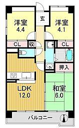 サニークレスト平野西脇[7O1号室号室]の間取り