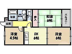 ルナ今福21 8階3DKの間取り
