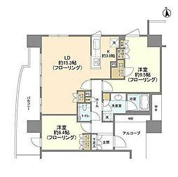 みなとみらい線 新高島駅 徒歩8分の賃貸マンション 11階2LDKの間取り