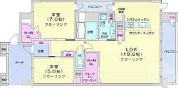 プレミスト仙台本町レジデンス 13階2LDKの間取り