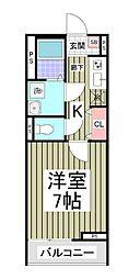 小田急小田原線 柿生駅 徒歩3分の賃貸アパート 1階1Kの間取り