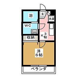 カーサ高田II 2階1Kの間取り