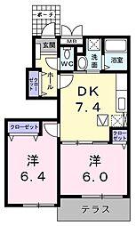 愛知県名古屋市中川区小本本町1丁目の賃貸アパートの間取り