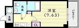 エス・キュート尼崎II 6階1Kの間取り