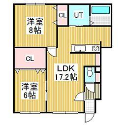 仮)ラ・ビ・アンローズ美園(2LDK)[101号室]の間取り