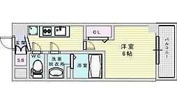 Osaka Metro御堂筋線 西中島南方駅 徒歩4分の賃貸マンション 2階1Kの間取り
