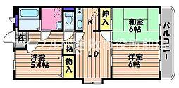 岡山県倉敷市新田の賃貸マンションの間取り
