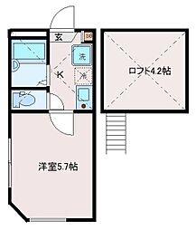 東京都荒川区東尾久6丁目の賃貸アパートの間取り