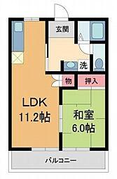 兵庫県西宮市上ケ原十番町の賃貸アパートの間取り