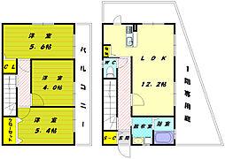 [テラスハウス] 福岡県福岡市東区高美台3丁目 の賃貸【/】の間取り