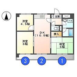MAJESTYハイツ御成[3階]の間取り