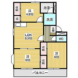 愛知県名古屋市中川区江松2丁目の賃貸アパートの間取り