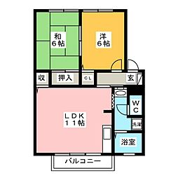 サンガーデン三条 B棟[2階]の間取り