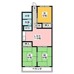 コスモハイツIII[2階]の間取り