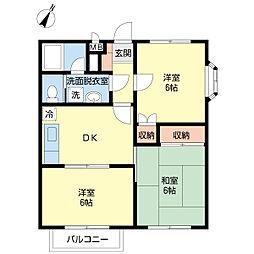 ラ・メール壱番館 2階3DKの間取り