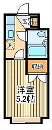 JR中央線 国立駅 バス15分 府中西高校入口下車 徒歩1分の賃貸マンション 2階1Kの間取り