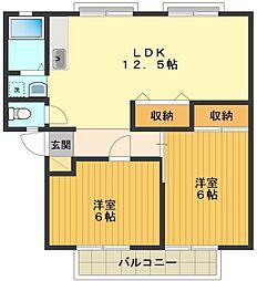東京都八王子市中山の賃貸アパートの間取り
