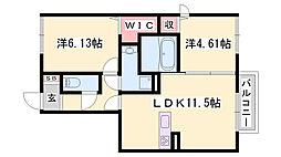 JR赤穂線 播州赤穂駅 徒歩29分の賃貸アパート 1階2LDKの間取り