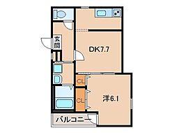 フジパレス和歌山II番館 3階1DKの間取り