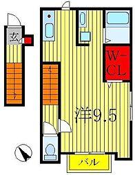 千葉県柏市東2の賃貸アパートの間取り