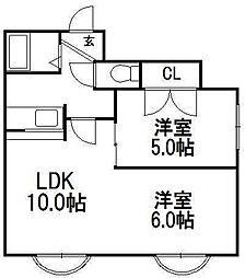 パラシオン琴似[4階]の間取り