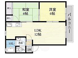 北大阪急行電鉄 桃山台駅 徒歩15分の賃貸アパート 1階2LDKの間取り