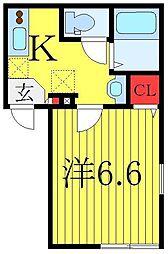 ライフタウン東長崎 2階1Kの間取り